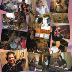 Collage of photos of Janice recording her songs